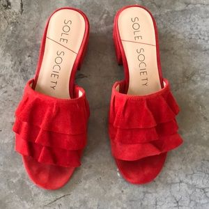 Sole Society / Red Valentia Ruffle Mule Sandal